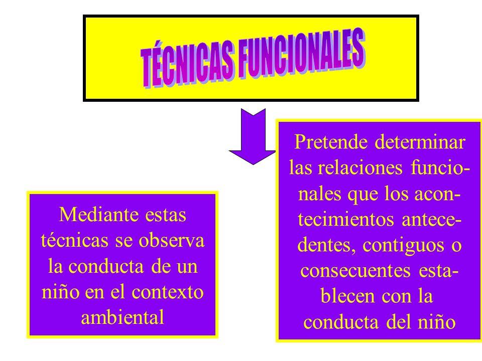 Mediante estas técnicas se observa la conducta de un niño en el contexto ambiental Pretende determinar las relaciones funcio- nales que los acon- teci