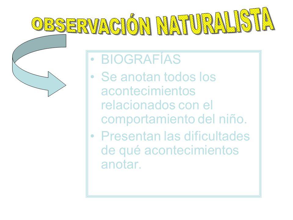 BIOGRAFÍAS Se anotan todos los acontecimientos relacionados con el comportamiento del niño. Presentan las dificultades de qué acontecimientos anotar.