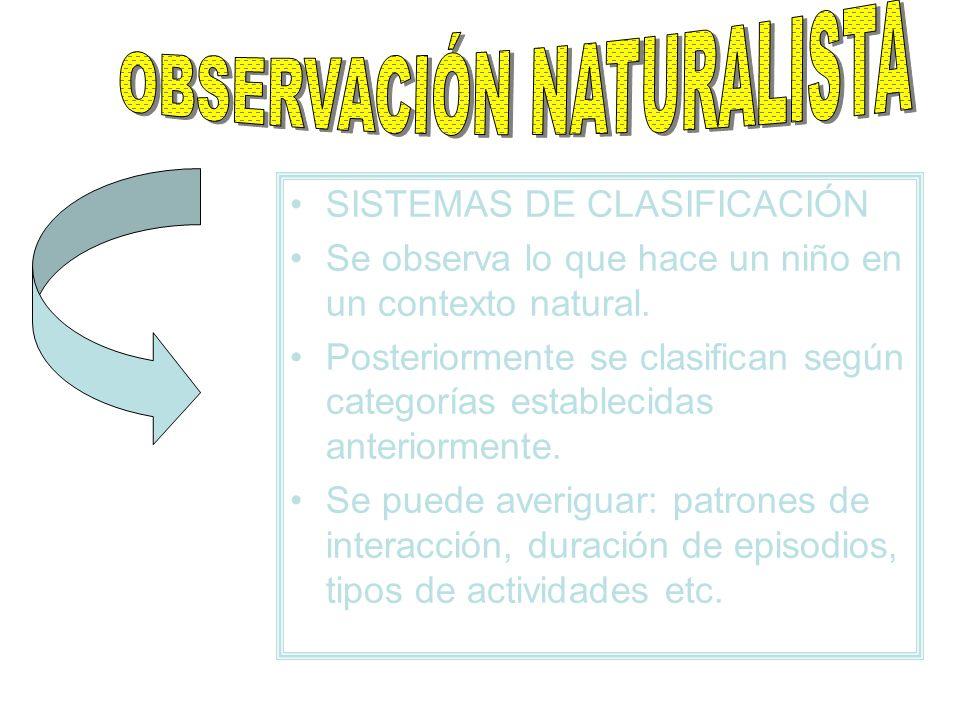 SISTEMAS DE CLASIFICACIÓN Se observa lo que hace un niño en un contexto natural. Posteriormente se clasifican según categorías establecidas anteriorme