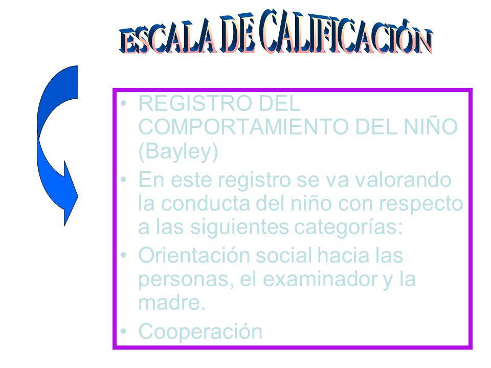 REGISTRO DEL COMPORTAMIENTO DEL NIÑO (Bayley) En este registro se va valorando la conducta del niño con respecto a las siguientes categorías: Orientac