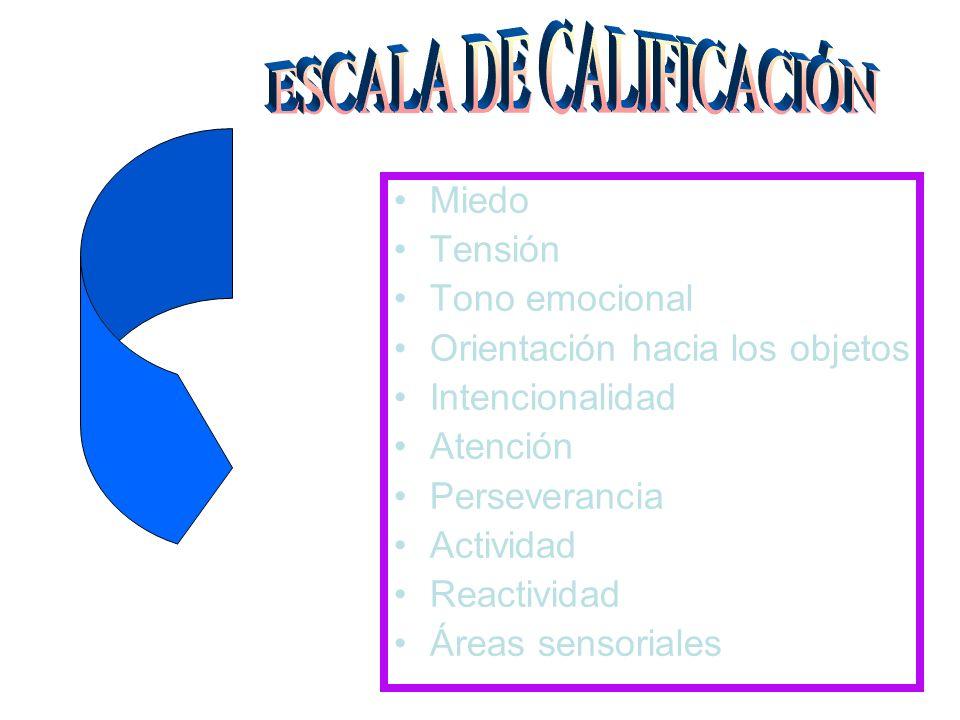 Miedo Tensión Tono emocional Orientación hacia los objetos Intencionalidad Atención Perseverancia Actividad Reactividad Áreas sensoriales