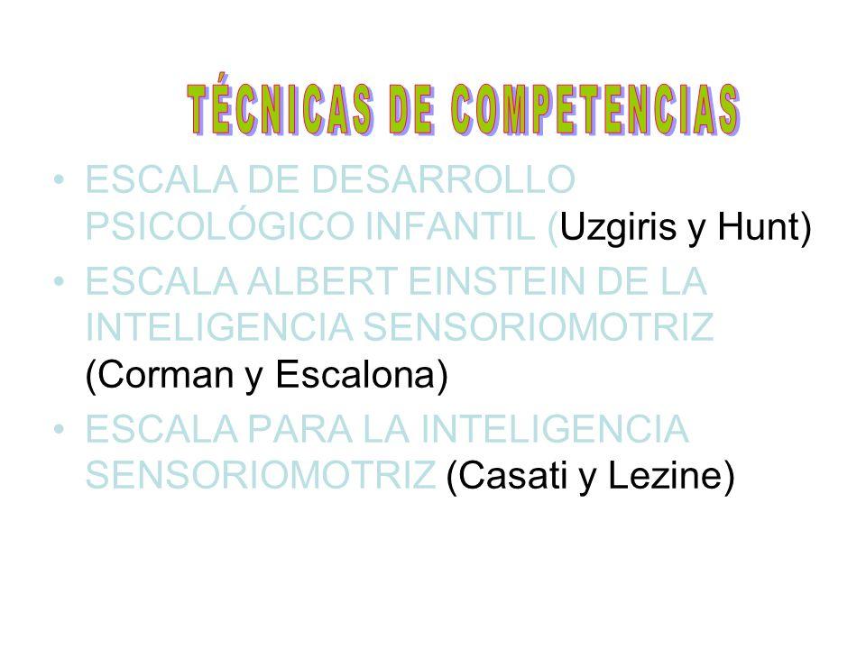 ESCALA DE DESARROLLO PSICOLÓGICO INFANTIL (Uzgiris y Hunt) ESCALA ALBERT EINSTEIN DE LA INTELIGENCIA SENSORIOMOTRIZ (Corman y Escalona) ESCALA PARA LA
