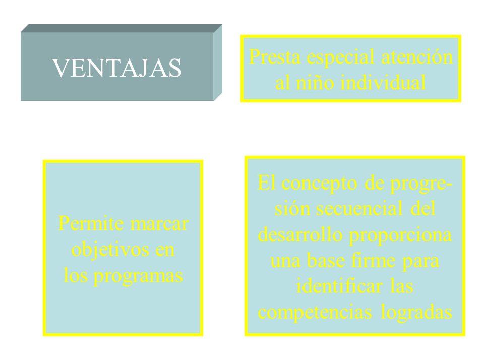 VENTAJAS Presta especial atención al niño individual El concepto de progre- sión secuencial del desarrollo proporciona una base firme para identificar