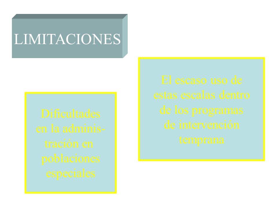 LIMITACIONES El escaso uso de estas escalas dentro de los programas de intervención temprana Dificultades en la adminis- tración en poblaciones especi