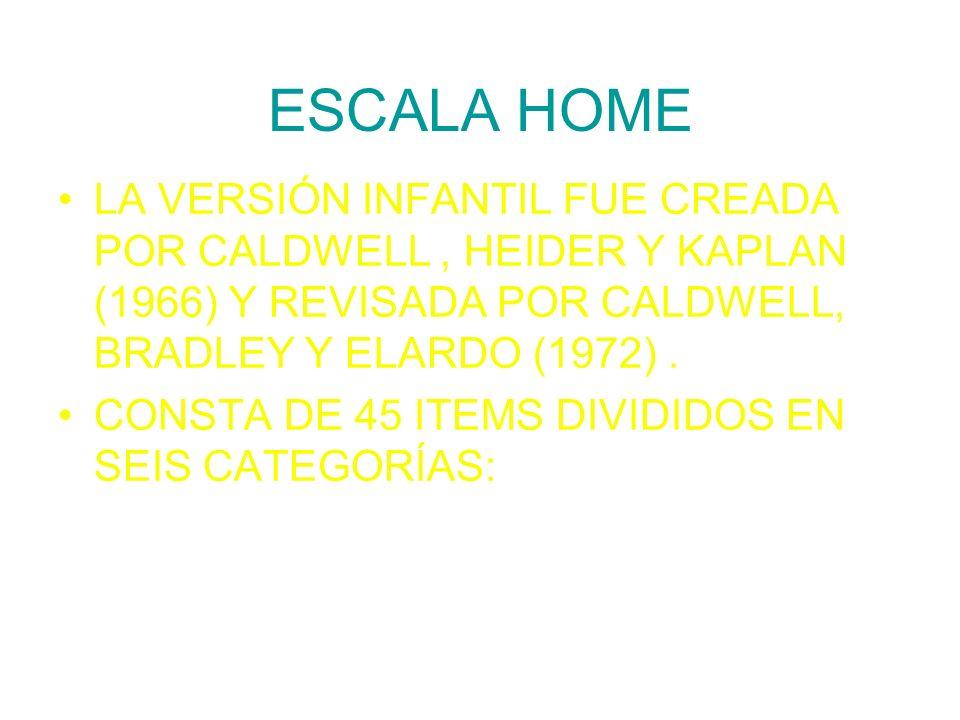 ESCALA HOME LA VERSIÓN INFANTIL FUE CREADA POR CALDWELL, HEIDER Y KAPLAN (1966) Y REVISADA POR CALDWELL, BRADLEY Y ELARDO (1972). CONSTA DE 45 ITEMS D