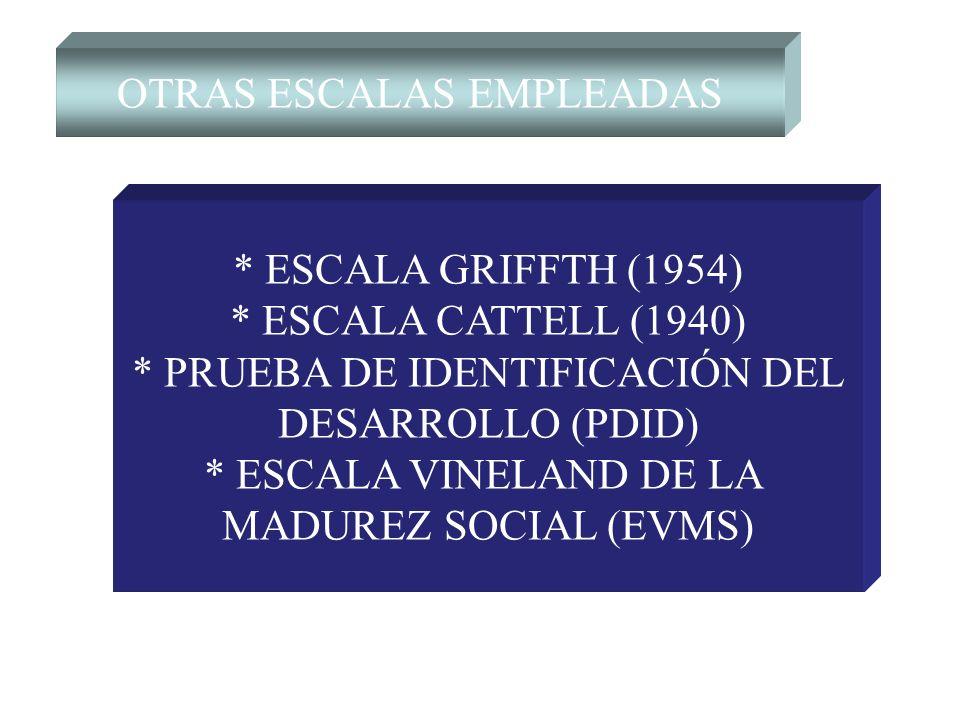 OTRAS ESCALAS EMPLEADAS * ESCALA GRIFFTH (1954) * ESCALA CATTELL (1940) * PRUEBA DE IDENTIFICACIÓN DEL DESARROLLO (PDID) * ESCALA VINELAND DE LA MADUR