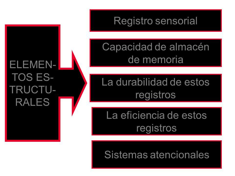 ELEMEN- TOS ES- TRUCTU- RALES Registro sensorial Capacidad de almacén de memoria La durabilidad de estos registros La eficiencia de estos registros Si