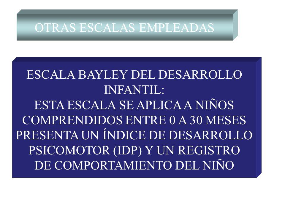 OTRAS ESCALAS EMPLEADAS ESCALA BAYLEY DEL DESARROLLO INFANTIL: ESTA ESCALA SE APLICA A NIÑOS COMPRENDIDOS ENTRE 0 A 30 MESES PRESENTA UN ÍNDICE DE DES