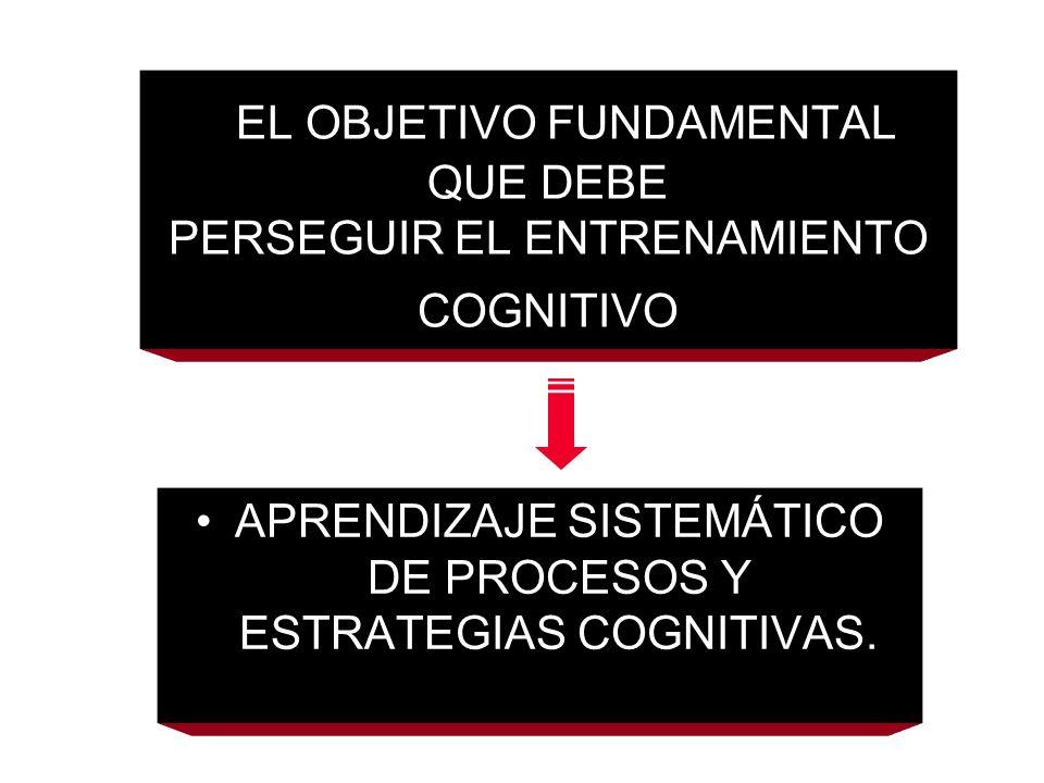 EL OBJETIVO FUNDAMENTAL QUE DEBE PERSEGUIR EL ENTRENAMIENTO COGNITIVO APRENDIZAJE SISTEMÁTICO DE PROCESOS Y ESTRATEGIAS COGNITIVAS.