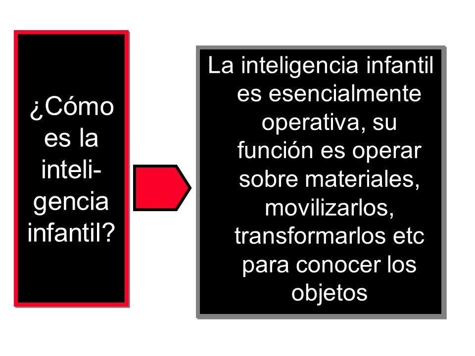 La inteligencia infantil es esencialmente operativa, su función es operar sobre materiales, movilizarlos, transformarlos etc para conocer los objetos