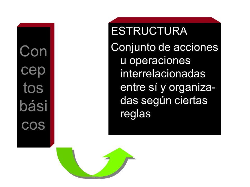 Con cep tos bási cos ESTRUCTURA Conjunto de acciones u operaciones interrelacionadas entre sí y organiza- das según ciertas reglas