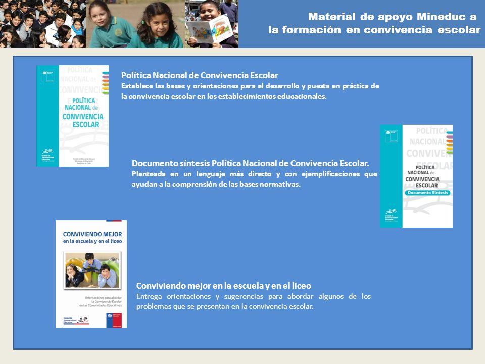 Material de apoyo Mineduc a la formación en convivencia escolar Política Nacional de Convivencia Escolar Establece las bases y orientaciones para el d