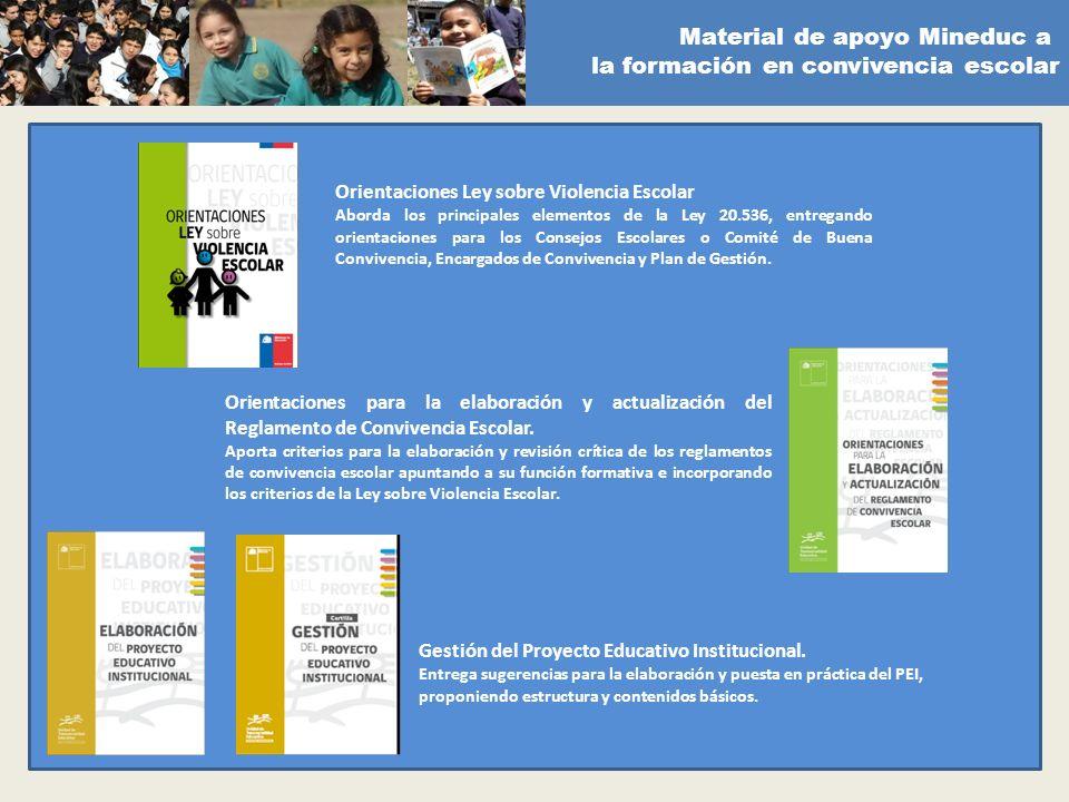 Material de apoyo Mineduc a la formación en convivencia escolar Orientaciones Ley sobre Violencia Escolar Aborda los principales elementos de la Ley 2