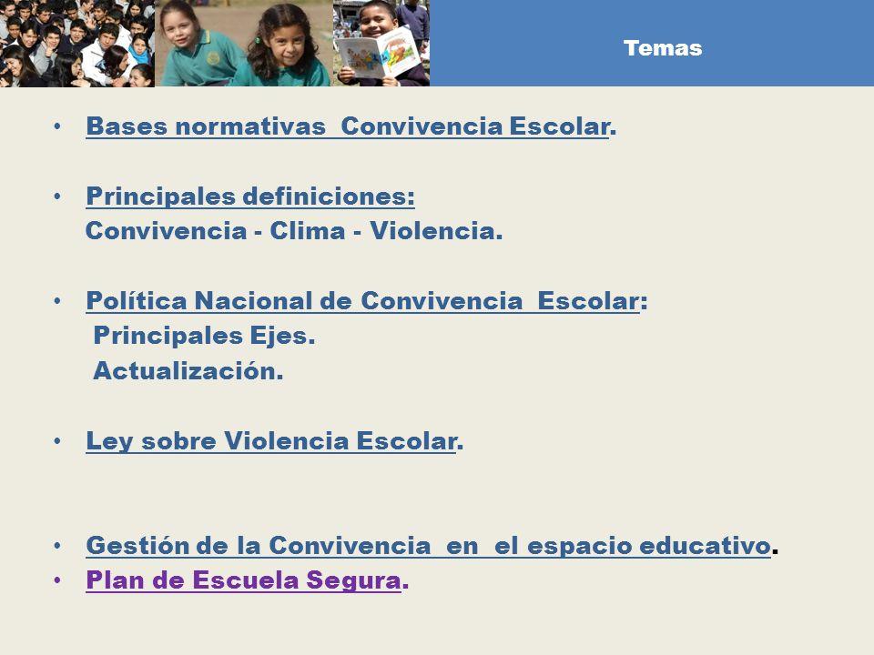 Temas Bases normativas Convivencia Escolar. Principales definiciones: Convivencia - Clima - Violencia. Política Nacional de Convivencia Escolar: Princ