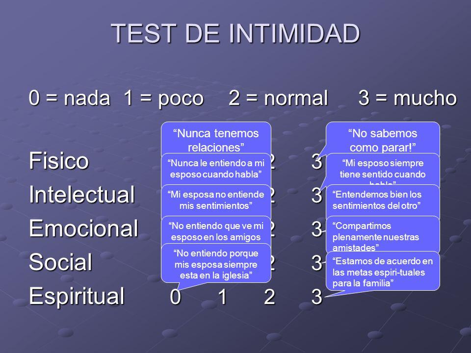 TEST DE INTIMIDAD 0 = nada1 = poco 2 = normal3 = mucho Fisico 0123 Intelectual 0123 Emocional 0123 Social 0123 Espiritual 0123 Nunca tenemos relacione