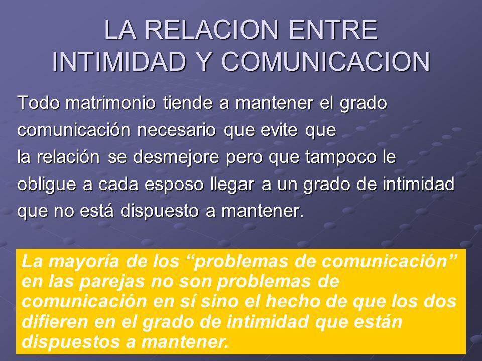 LA RELACION ENTRE INTIMIDAD Y COMUNICACION Todo matrimonio tiende a mantener el grado comunicación necesario que evite que la relación se desmejore pe