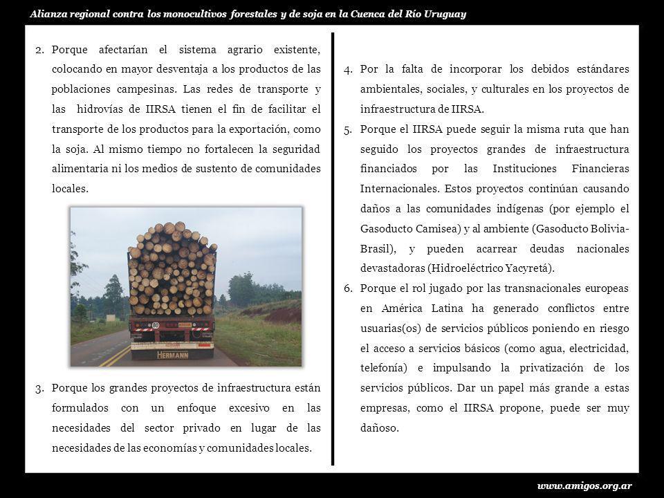 www.amigos.org.ar Alianza regional contra los monocultivos forestales y de soja en la Cuenca del Río Uruguay 4.Por la falta de incorporar los debidos