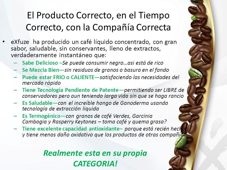 El Producto Correcto, en el Tiempo Correcto, con la Compañía Correcta eXfuze ha producido un café líquido concentrado, con gran sabor, saludable, sin conservantes, lleno de extractos, verdaderamente instantáneo que: – Sabe Delicioso –Se puede consumir negro…asi está de rico – Se Mezcla Biensin residuos de granos o basura en el fondo – Puede estar FRIO o CALIENTEsatisfaciendo las necesidades del mercado rápido – Tiene Tecnología Pendiente de Patentepermitiendo ser LIBRE de conservadores pero aun teniendo larga vida sin que se haga rancio – Es Saludablecon el increíble hongo de Ganoderma usando tecnología de extracción liquida – Es Termogénicocon granos de café Verdes, Garcinia Cambogia y Rasperry Keytones – toma café y quema grasa.