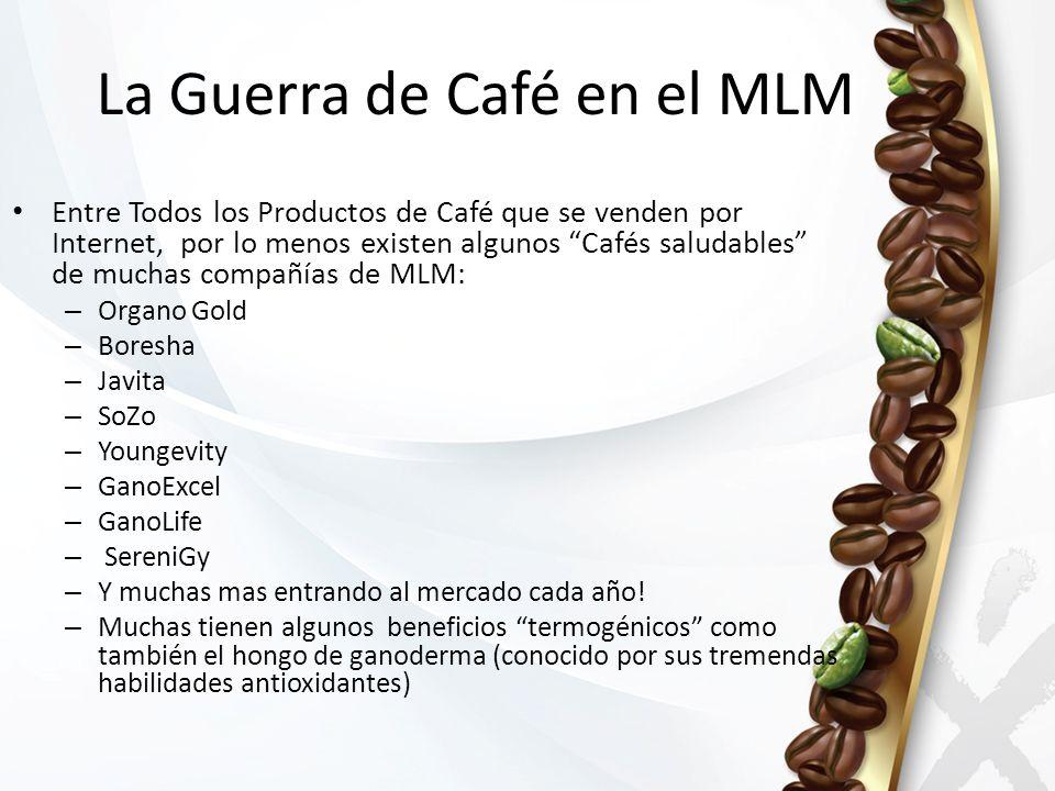 Entre Todos los Productos de Café que se venden por Internet, por lo menos existen algunos Cafés saludables de muchas compañías de MLM: – Organo Gold – Boresha – Javita – SoZo – Youngevity – GanoExcel – GanoLife – SereniGy – Y muchas mas entrando al mercado cada año.