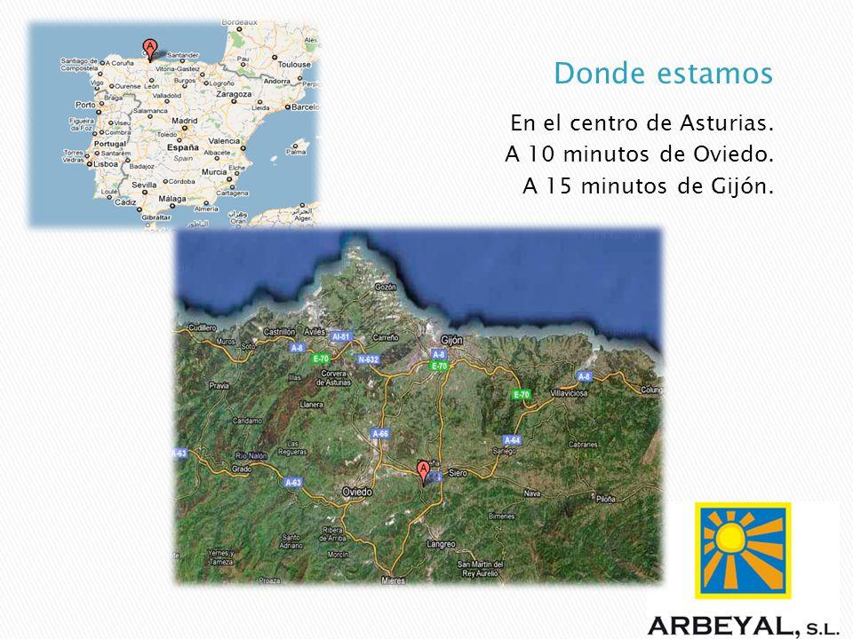 En el centro de Asturias. A 10 minutos de Oviedo. A 15 minutos de Gijón.