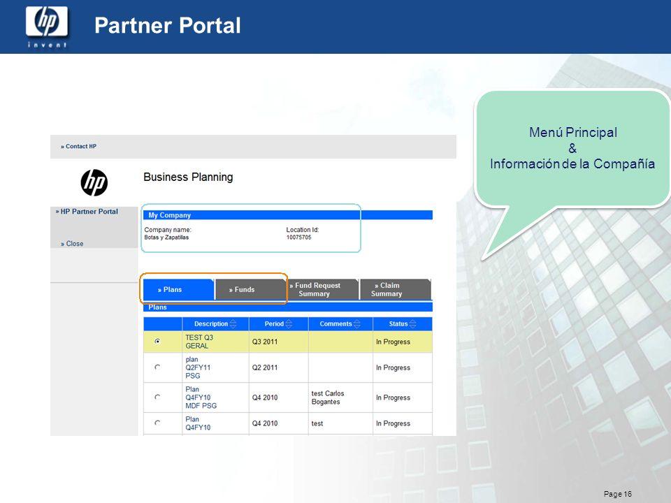 Page 16 Partner Portal Menú Principal & Información de la Compañía Menú Principal & Información de la Compañía