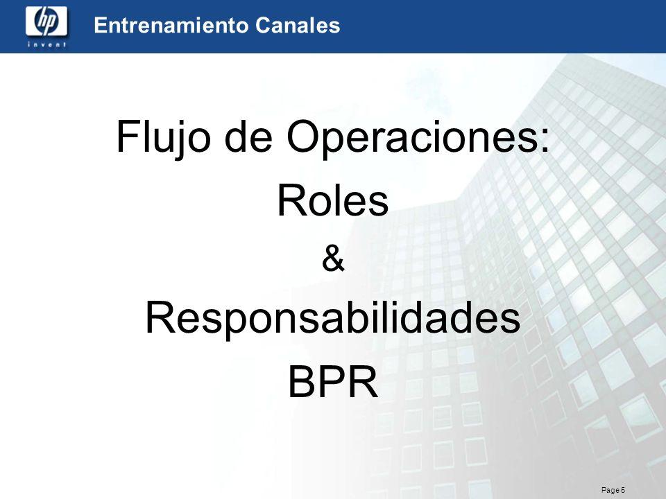 Page 5 Entrenamiento Canales Flujo de Operaciones: Roles & Responsabilidades BPR