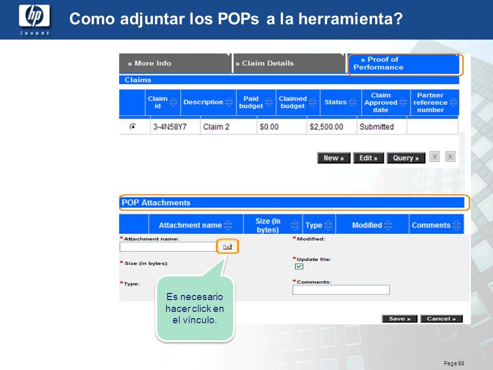 Page 58 Como adjuntar los POPs a la herramienta? Es necesario hacer click en el vínculo.