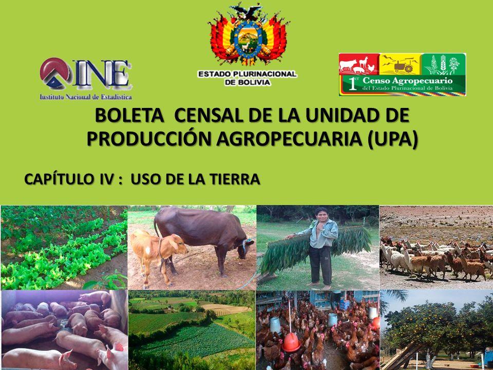 CAPÍTULO IV : USO DE LA TIERRA CAPÍTULO IV : USO DE LA TIERRA BOLETA CENSAL DE LA UNIDAD DE PRODUCCIÓN AGROPECUARIA (UPA)