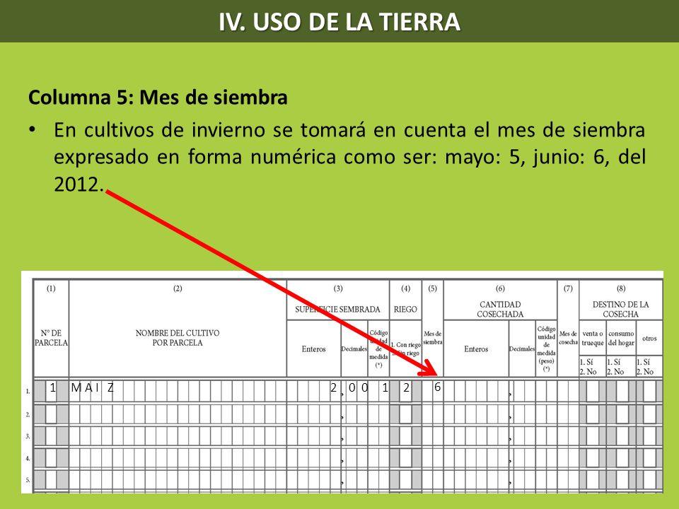 IV. USO DE LA TIERRA Columna 5: Mes de siembra En cultivos de invierno se tomará en cuenta el mes de siembra expresado en forma numérica como ser: may
