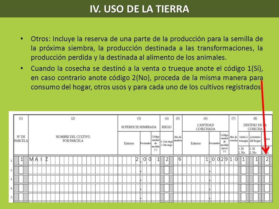 IV. USO DE LA TIERRA Otros: Incluye la reserva de una parte de la producción para la semilla de la próxima siembra, la producción destinada a las tran