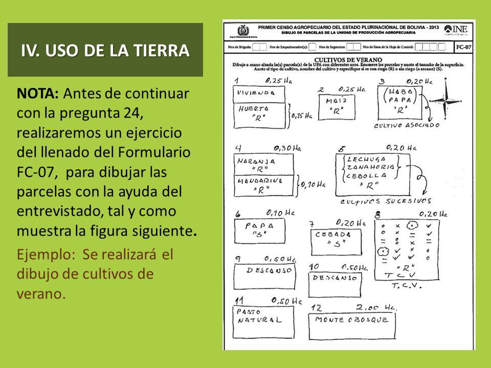 IV. USO DE LA TIERRA NOTA: Antes de continuar con la pregunta 24, realizaremos un ejercicio del llenado del Formulario FC-07, para dibujar las parcela