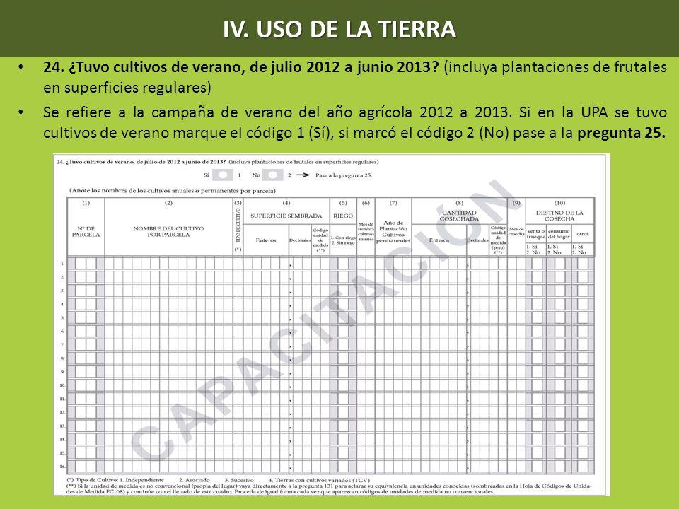 IV. USO DE LA TIERRA 24. ¿Tuvo cultivos de verano, de julio 2012 a junio 2013? (incluya plantaciones de frutales en superficies regulares) Se refiere