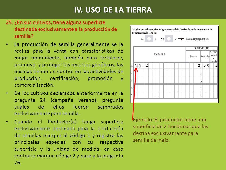 IV. USO DE LA TIERRA 25. ¿En sus cultivos, tiene alguna superficie destinada exclusivamente a la producción de semilla? La producción de semilla gener