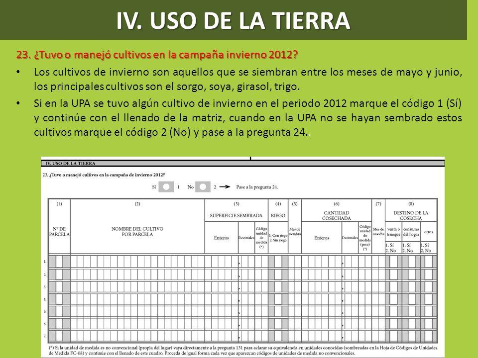 IV. USO DE LA TIERRA 23. ¿Tuvo o manejó cultivos en la campaña invierno 2012? Los cultivos de invierno son aquellos que se siembran entre los meses de