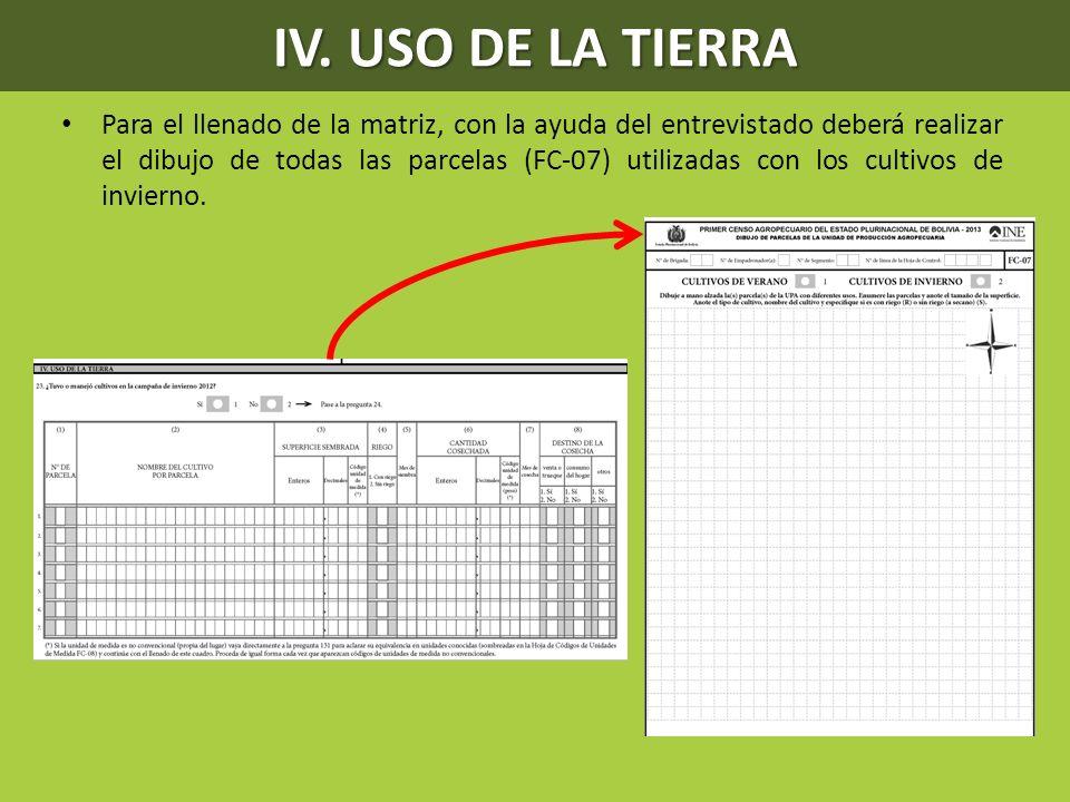Para el llenado de la matriz, con la ayuda del entrevistado deberá realizar el dibujo de todas las parcelas (FC-07) utilizadas con los cultivos de inv