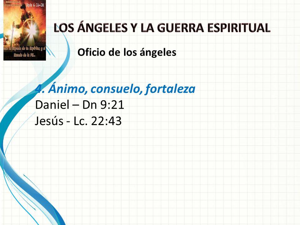 4. Ánimo, consuelo, fortaleza Daniel – Dn 9:21 Jesús - Lc. 22:43 Oficio de los ángeles