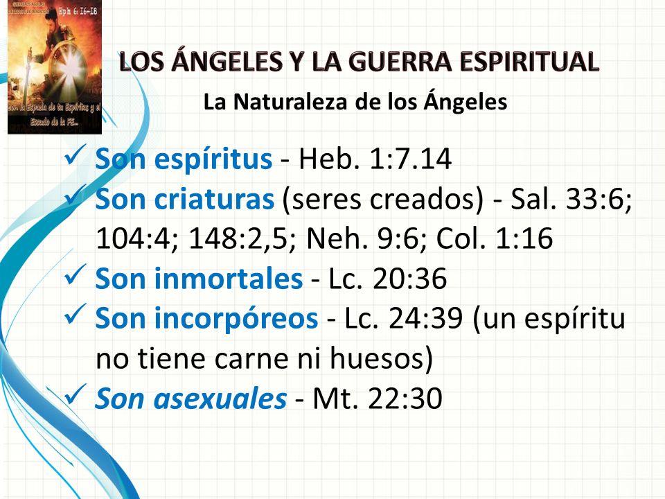 Son espíritus - Heb.1:7.14 Son criaturas (seres creados) - Sal.