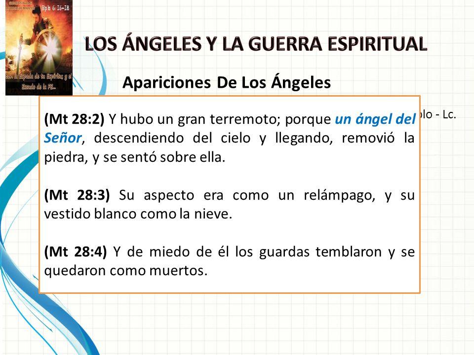 En forma manifiesta - Reacción: temor - Mt.28:2-4; En el templo - Lc.