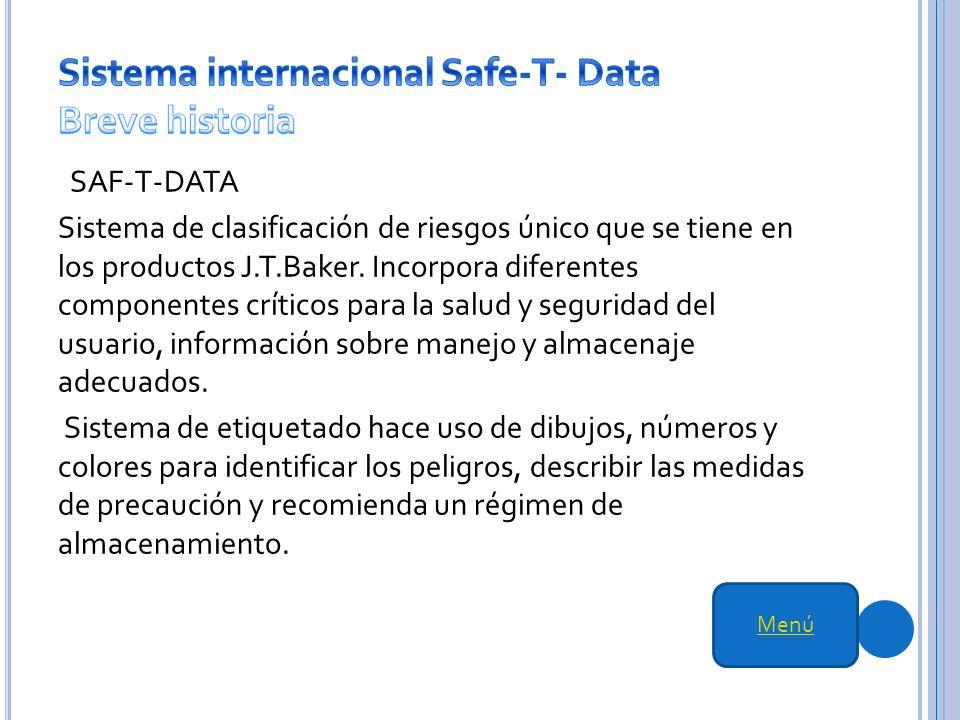 SAF-T-DATA Sistema de clasificación de riesgos único que se tiene en los productos J.T.Baker.