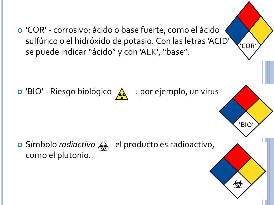 COR - corrosivo: ácido o base fuerte, como el ácido sulfúrico o el hidróxido de potasio.