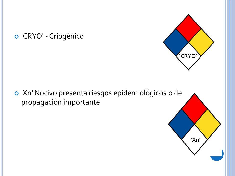 CRYO - Criogénico Xn Nocivo presenta riesgos epidemiológicos o de propagación importante CRYO Xn