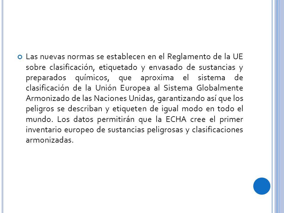 Las nuevas normas se establecen en el Reglamento de la UE sobre clasificación, etiquetado y envasado de sustancias y preparados químicos, que aproxima el sistema de clasificación de la Unión Europea al Sistema Globalmente Armonizado de las Naciones Unidas, garantizando así que los peligros se describan y etiqueten de igual modo en todo el mundo.