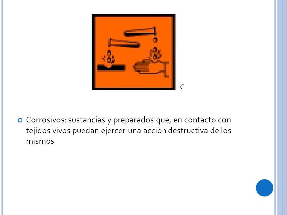 Corrosivos: sustancias y preparados que, en contacto con tejidos vivos puedan ejercer una acción destructiva de los mismos C