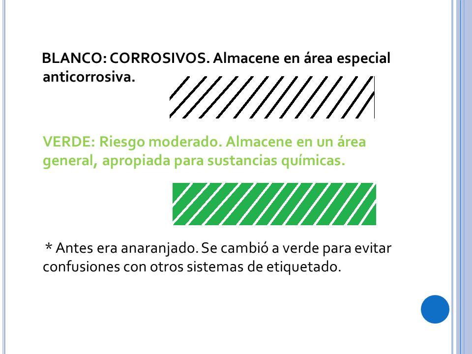 BLANCO: CORROSIVOS.Almacene en área especial anticorrosiva.