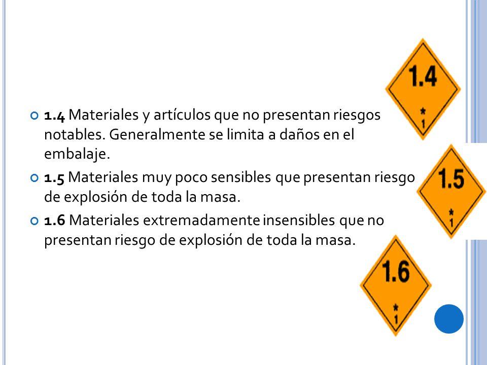 1.4 Materiales y artículos que no presentan riesgos notables.