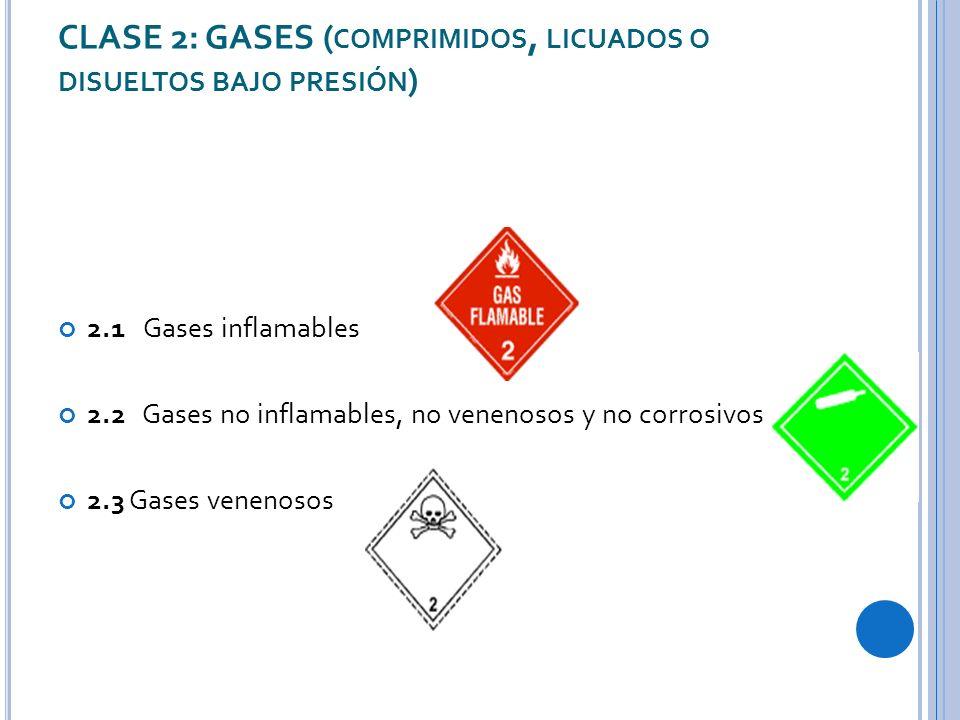 CLASE 2: GASES ( COMPRIMIDOS, LICUADOS O DISUELTOS BAJO PRESIÓN ) 2.1 Gases inflamables 2.2 Gases no inflamables, no venenosos y no corrosivos 2.3 Gases venenosos
