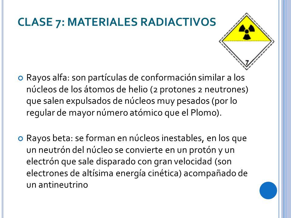 CLASE 7: MATERIALES RADIACTIVOS Rayos alfa: son partículas de conformación similar a los núcleos de los átomos de helio (2 protones 2 neutrones) que salen expulsados de núcleos muy pesados (por lo regular de mayor número atómico que el Plomo).