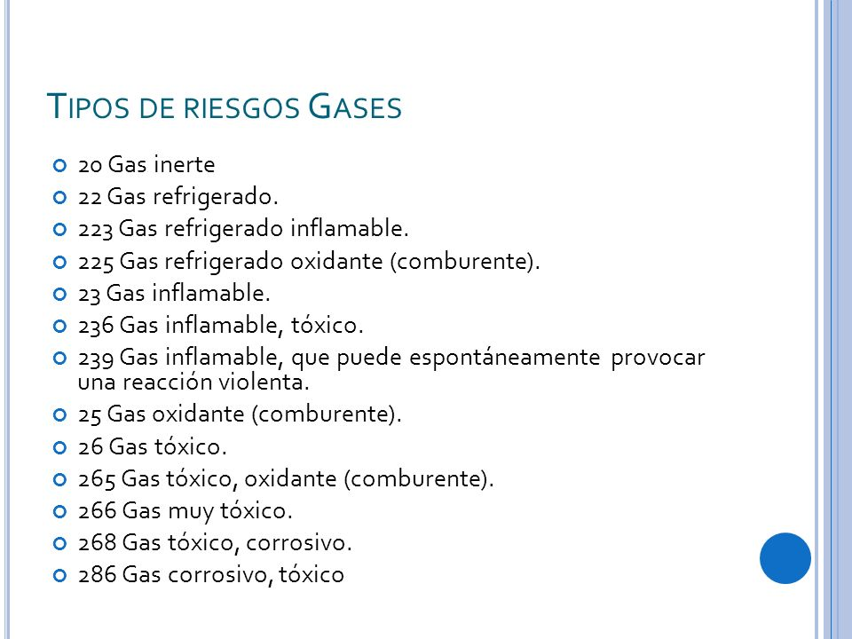 T IPOS DE RIESGOS G ASES 20 Gas inerte 22 Gas refrigerado. 223 Gas refrigerado inflamable. 225 Gas refrigerado oxidante (comburente). 23 Gas inflamabl