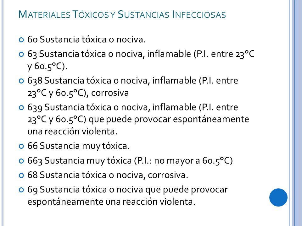 M ATERIALES T ÓXICOS Y S USTANCIAS I NFECCIOSAS 60 Sustancia tóxica o nociva.