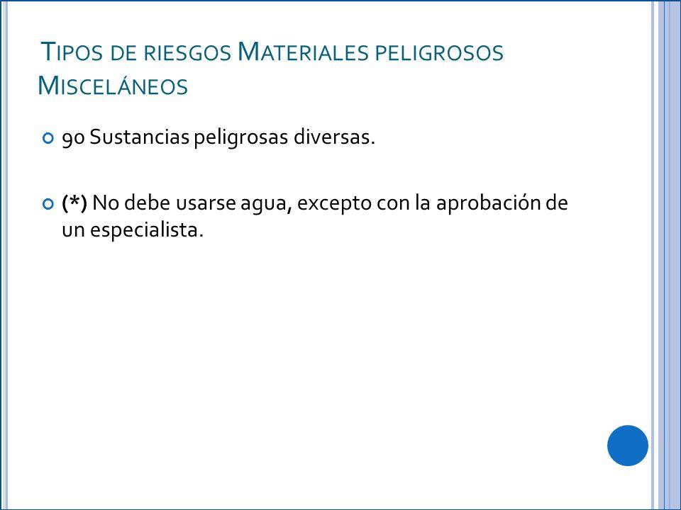 T IPOS DE RIESGOS M ATERIALES PELIGROSOS M ISCELÁNEOS 90 Sustancias peligrosas diversas.